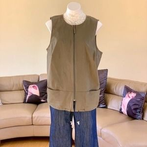 August Max Olive Green Long Utility Vest Sz XL